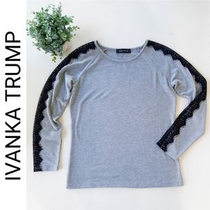 Ivanka Trump Grey With Black Lace Detail Sweater
